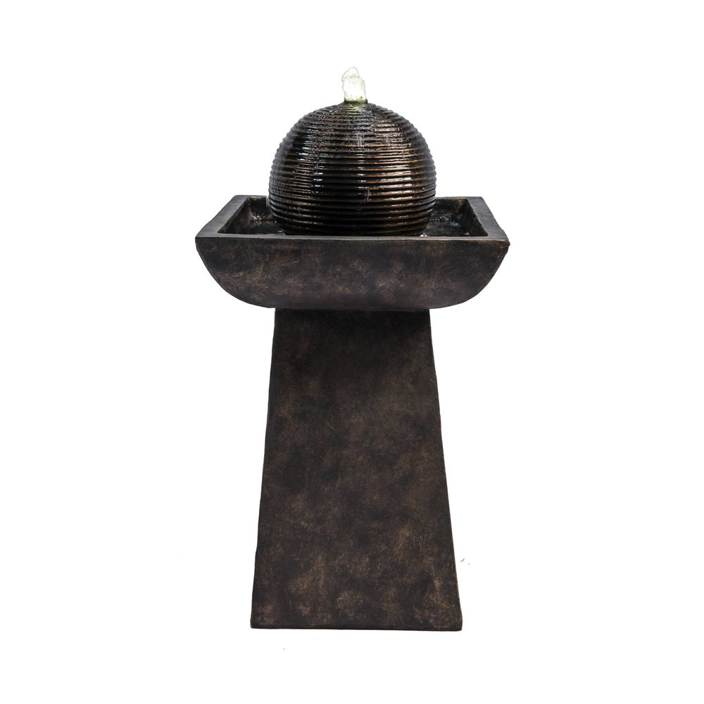 """Image of """"26.3"""""""" Pedestal Outdoor Fountain with Orb and LED Light Brown - Peaktop"""""""