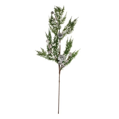 Napco 34'' White and Green Pine Cones Glittered Artificial Christmas Spray