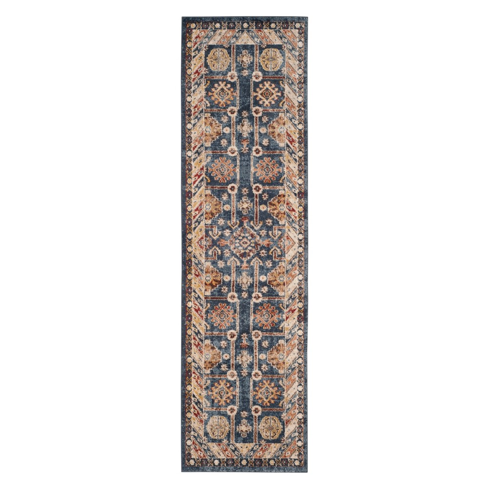 2'3X12' Medallion Runner Royal/Ivory - Safavieh, Blue