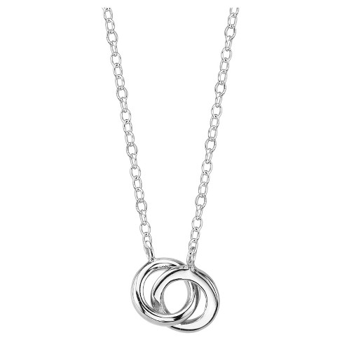 """Women's Sterling Silver Rings Station Necklace - Silver (18"""") - image 1 of 2"""