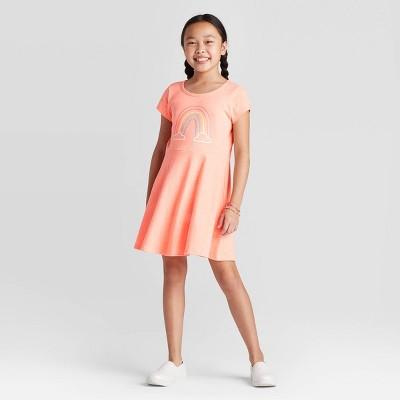 Girls' Short Sleeve Rainbow Dress - Cat & Jack™ Bright Peach M