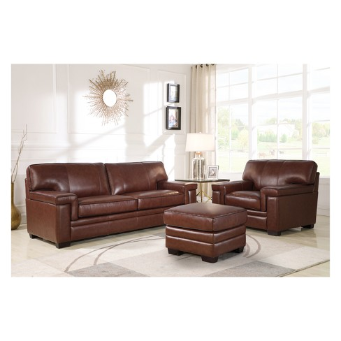 Evan Top Grain Leather Sofa Chair And Ottoman Set Brown Abbyson