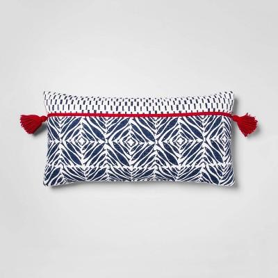 Minnow Block Print Oversize Lumbar Throw Pillow White/Blue - Opalhouse™