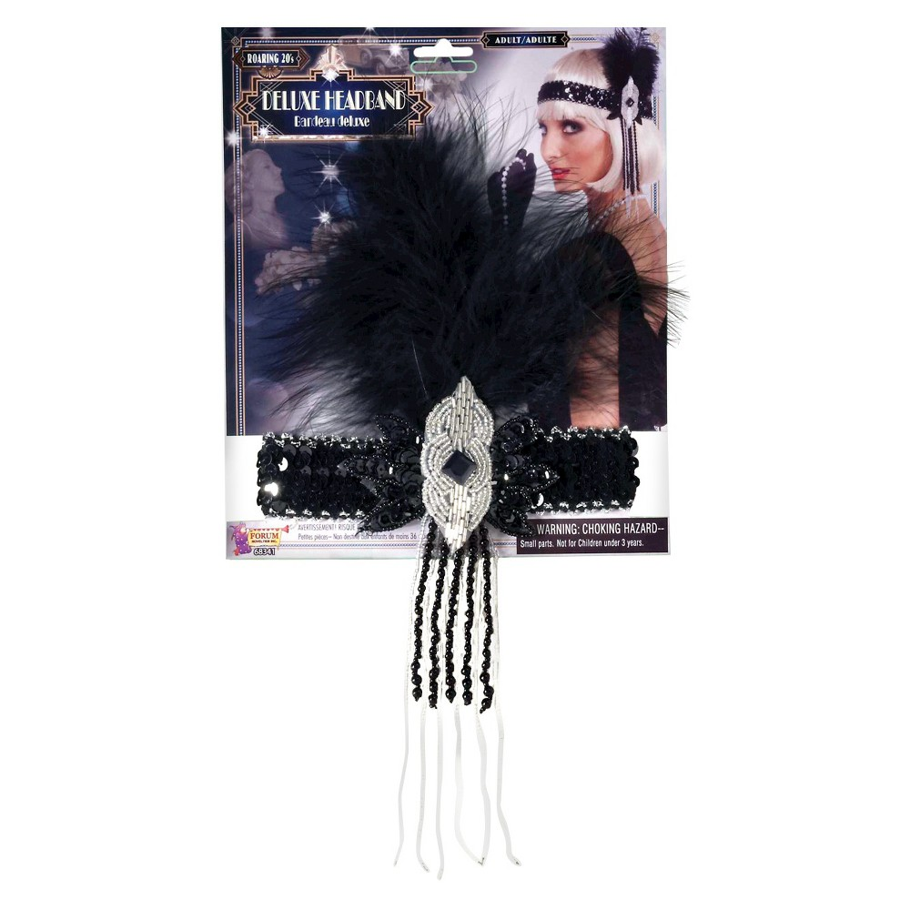 Halloween Flapper Deluxe Adult Headband, Women's, Black