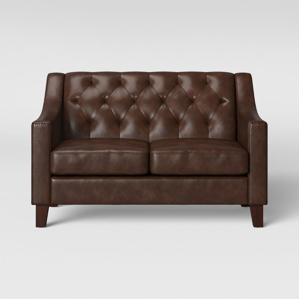 Felton Tufted Loveseat Faux Leather Espresso (Brown) - Threshold