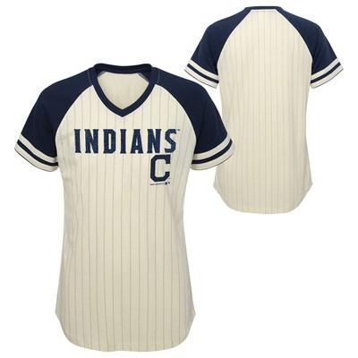 MLB Cleveland Indians Girls' Pinstripe V-Neck T-Shirt