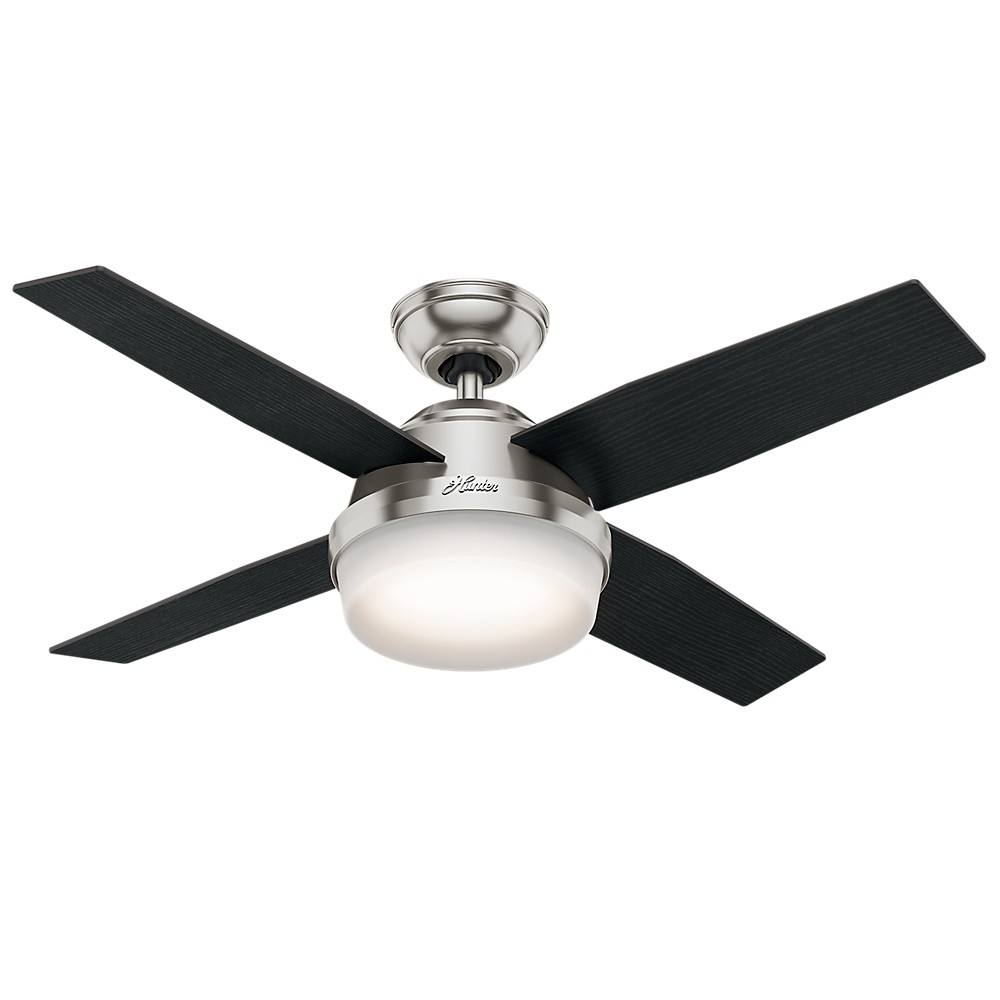 "Image of ""44"""" Dempsey with Light Brushed Nickel Ceiling Fan with Light with Handheld Remote - Hunter Fan"""