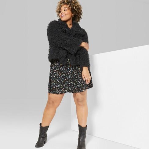 ab0ae435172 Women s Plus Size Open Drape Cozy Faux Fur Jacket - Wild Fable ...