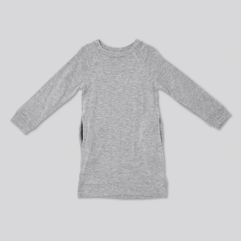 f5c58f19edd Toddler Girls  Afton Street Long Sleeve Fleece Pullover A Line Dress -  Heather Gray