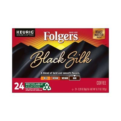 Folgers Black Silk Dark Roast Coffee - Keurig K-Cup Pods - 24ct