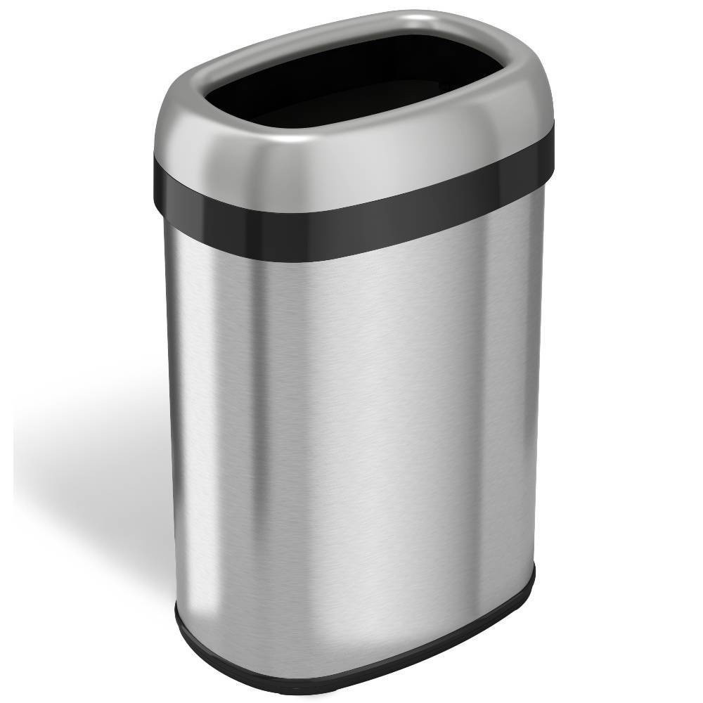 Image of 13gal Oval Top Stainless Steel Trash Can and Recycle Bin with Dual Deodorizer - Halo, Silver