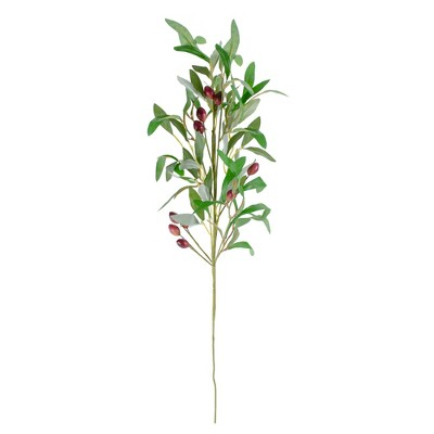 """Northlight 28"""" Artificial Olive Branch Stem with Leaves and Fruit"""