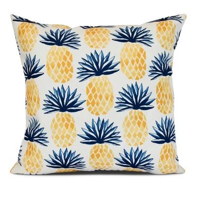 Blue/White Pineapples Print Pillow Throw Pillow (16 x16 )- E by Design