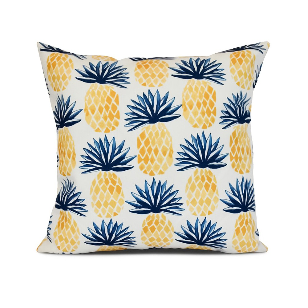 "Image of ""Blue/White Pineapples Print Pillow Throw Pillow (16""""x16"""") - E by Design"""