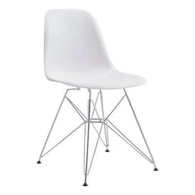 Mid-Century Modern Chromed Steel and ABS Plastic Dining Chair - White - ZM Home