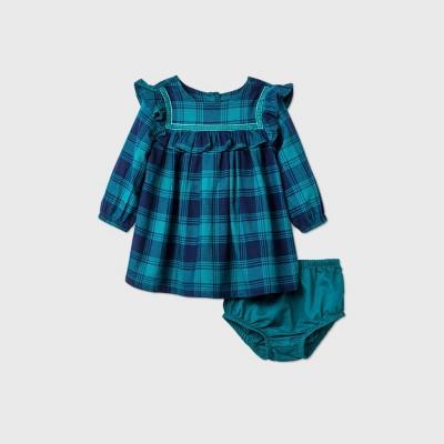 Baby Girls' Flannel Ruffle Dress - Cat & Jack™ Blue 12M