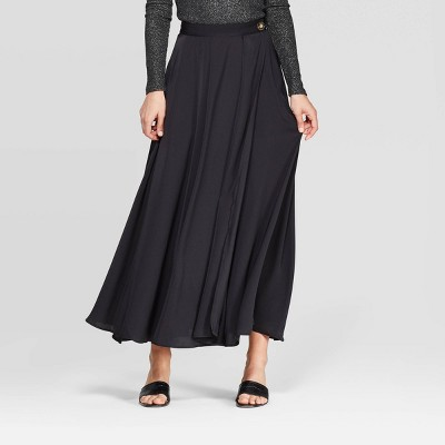 Women's Mid Rise High Slit Maxi Skirt Who What Wear™ Black by Who What Wear