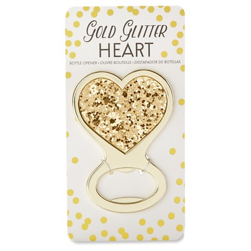 12ct Gold Glitter Heart Bottle Opener - image 1 of 2