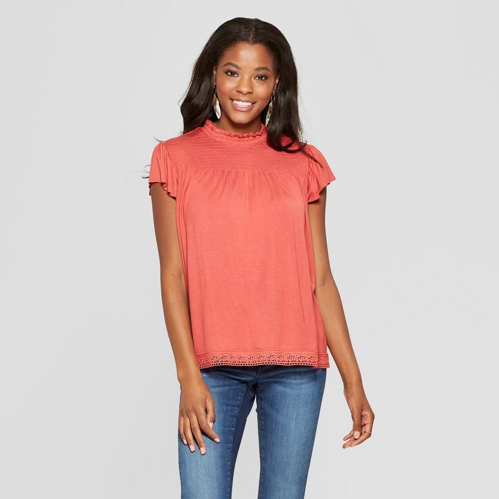 Women's Smocked Top Flutter Sleeve Knit Top - Xhilaration Sunwashed Red Xxl