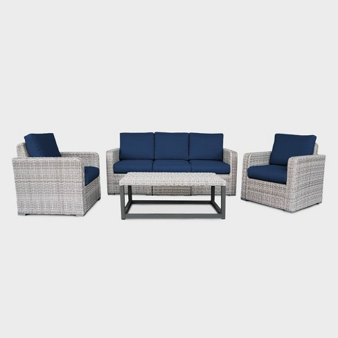 Forsyth 5pc Wicker Patio Seating Set  - Navy - Leisure Made - image 1 of 4