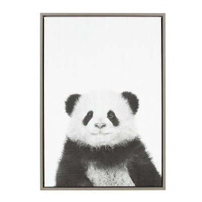 Kate & Laurel 33 x23  Sylvie Panda Animal Print And Portrait By Simon Te Tai Framed Wall Canvas Gray