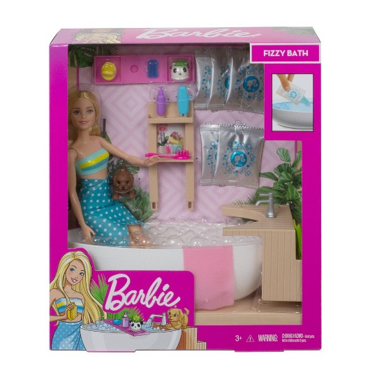 Barbie Fizzy Bath Blonde Doll and Playset image number null