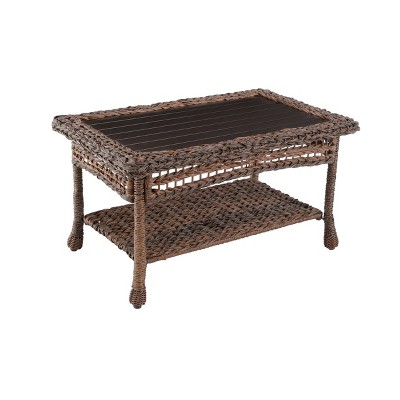 Modern Concept Faux Sea Grass Resin Rattan Coffee Table - W Unlimited