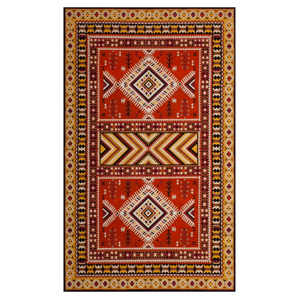 Orange/Gold Tribal Design Loomed Area Rug 5'X8' - Safavieh