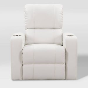 Tucson Home Theater Single Power Recliner with Stainless Steel Cup Holders White Leather Gel Corliving