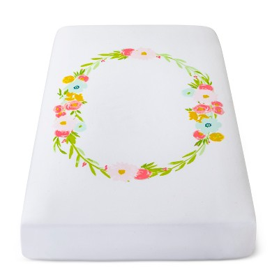 Fitted Crib Sheet Floral Wreath - Cloud Island™ White