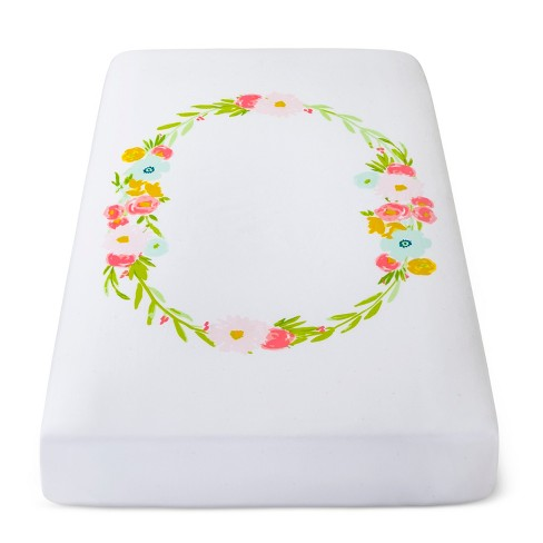 Fitted Crib Sheet Floral Wreath - Cloud Island™ White - image 1 of 3