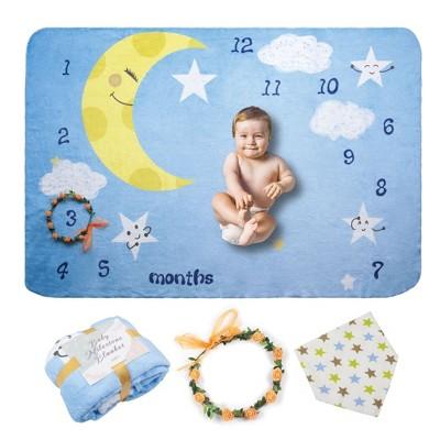 """Zodaca Baby Milestone Fleece Blanket, Moon & Baby, Baby Gifts for Birthday 39.4"""" x 59"""""""