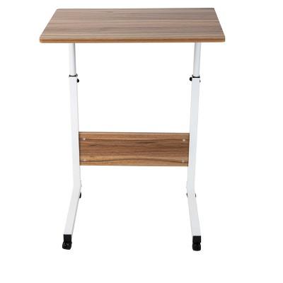 Mind Reader Adjustable Height Rolling Laptop Desk, White, Wood
