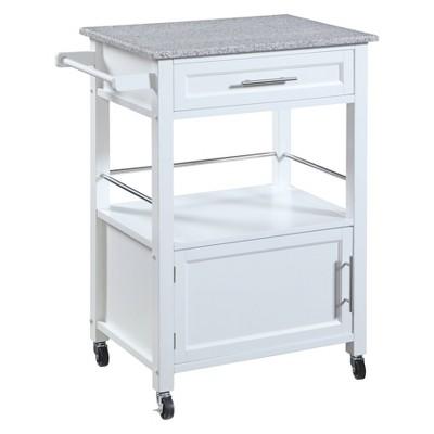 Mitchell Kitchen Cart Granite Top White - Linon