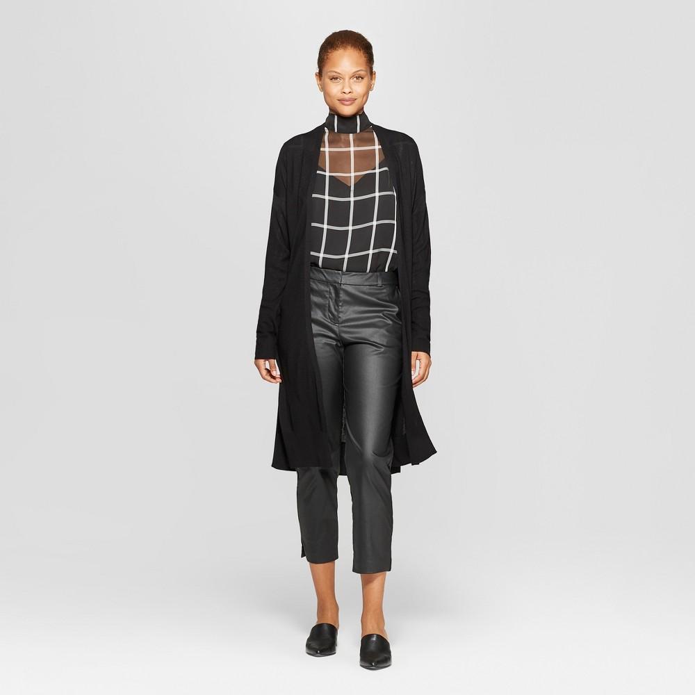 Women's Long Sleeve Open-Front Knitted Sweater - Prologue Black Xxl