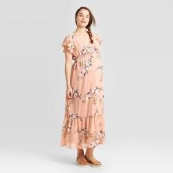 Maternity Floral Print Short Sleeve Smocked Maxi Dress - Isabel Maternity by Ingrid & Isabel™ Blush