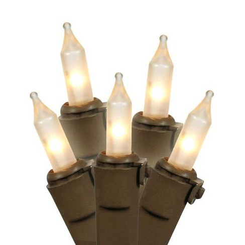 Brite Star 100ct Mini Christmas Lights White - 49.6' Brown Wire - image 1 of 2