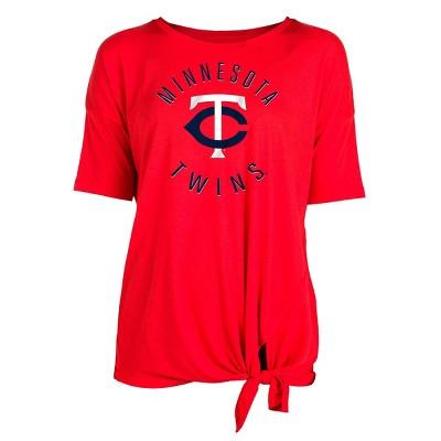 MLB Minnesota Twins Women's Poly Rayon Front Knot T-Shirt