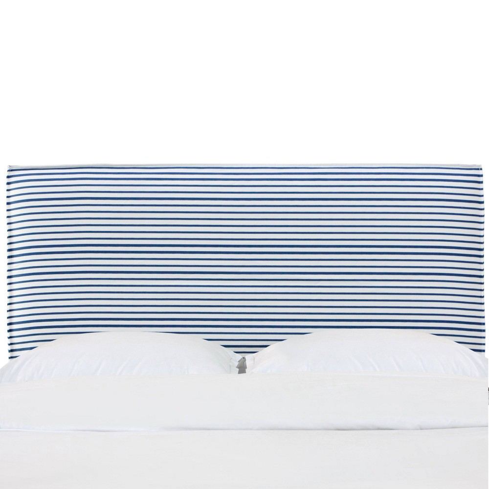 Full French Seam Slipcover Headboard in Nautical Stripe Navy - Cloth & Co., Blue
