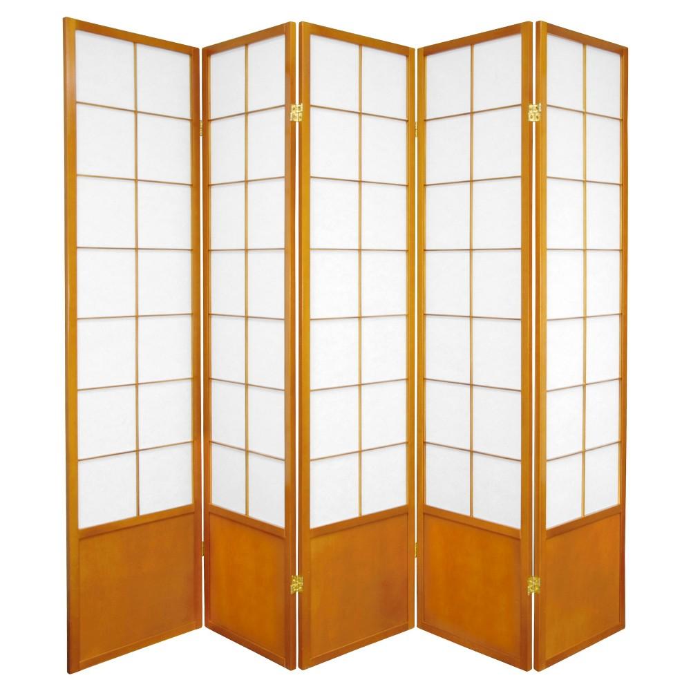 6 ft. Tall Zen Shoji Screen - Honey (5 Panels), Orange