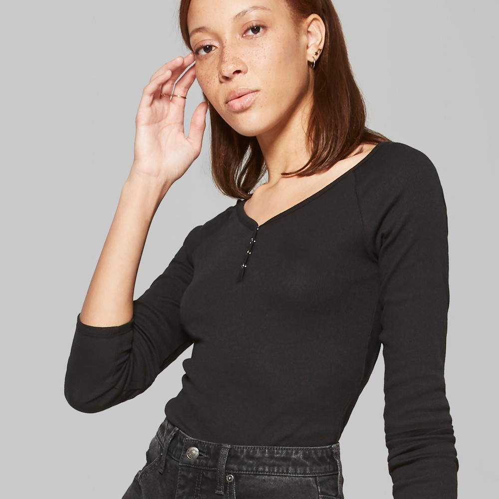 Women's Long Sleeve Snap Placket T-Shirt - Wild Fable L Black