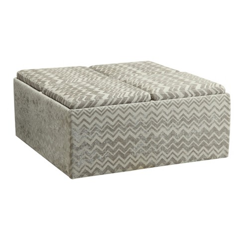 Groovy Verone Cocktail Storage Ottoman Chevron Gray Inspire Q Caraccident5 Cool Chair Designs And Ideas Caraccident5Info