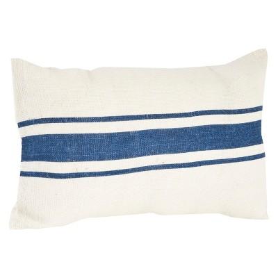 Navy Blue Striped Design Jute Throw Pillow (14 x23 )Saro Lifestyle