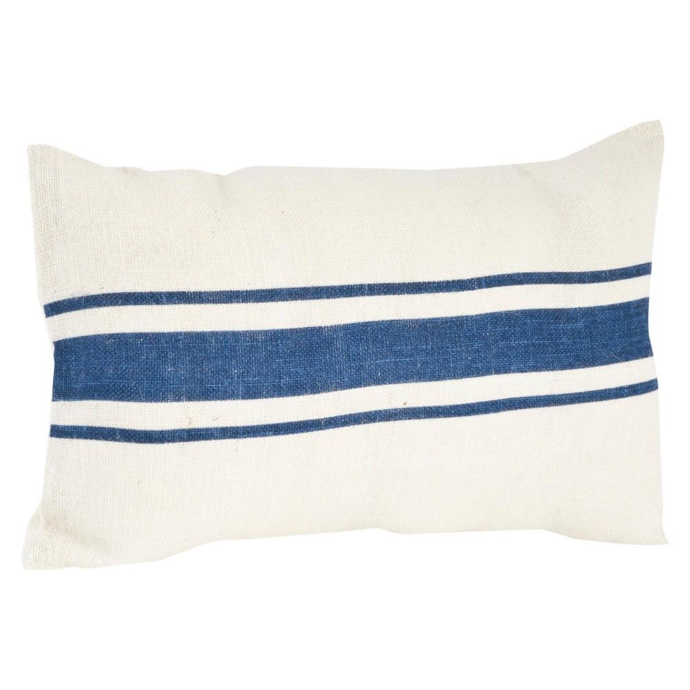Navy Blue Striped Design Jute Throw Pillow (14