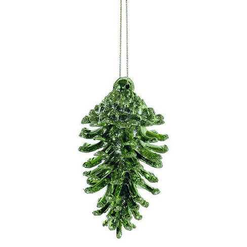 """Northlight 3ct Glittered Natural Pine Cone Christmas Ornament Set 3.5"""" - Green - image 1 of 1"""