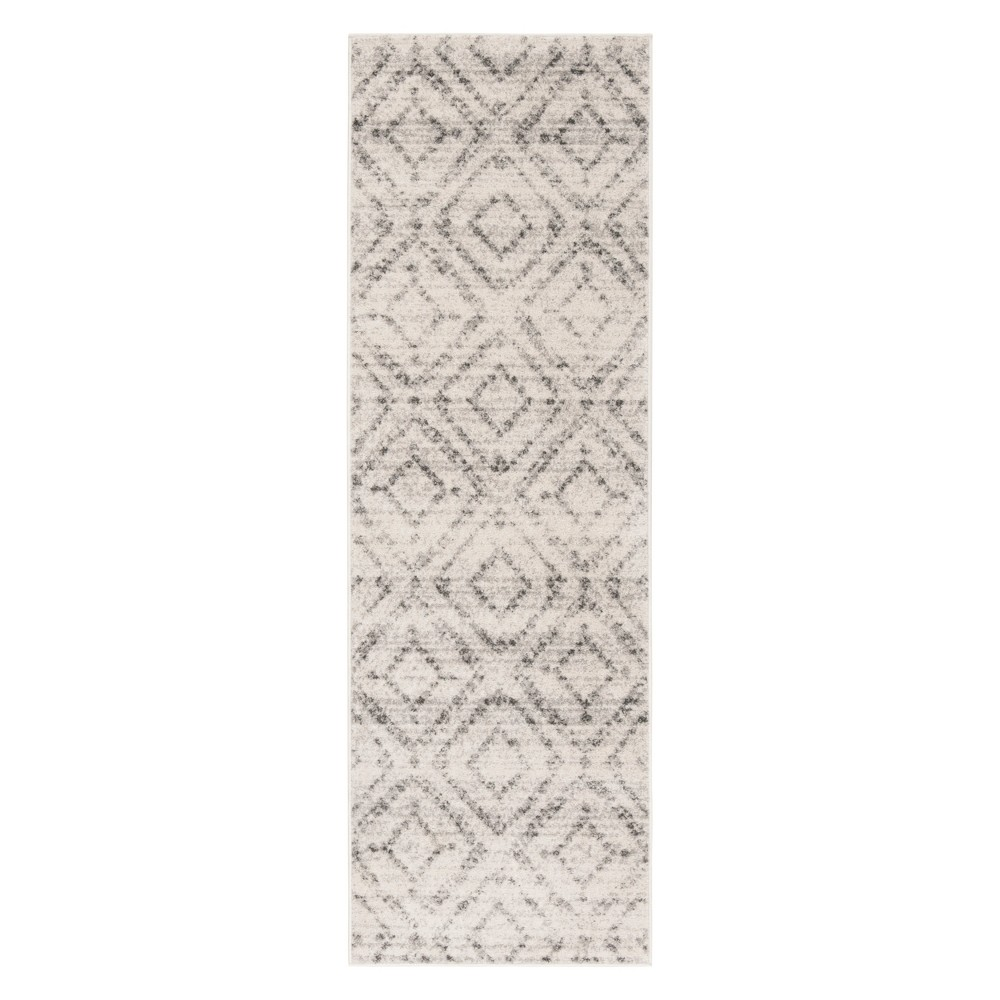 Gray Geometric Loomed Runner 2'6X8' - Safavieh, Light Gray Ngray