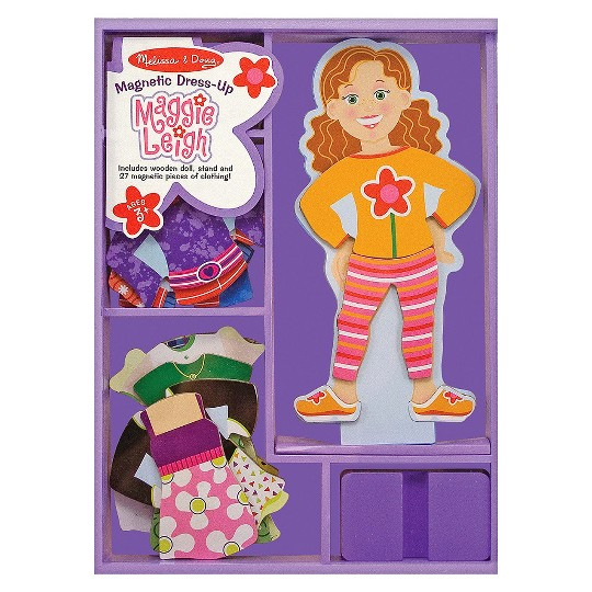Melissa & Doug Maggie Leigh Magnetic Wooden Dress-Up Doll Pretend Play Set (25+pc) image number null