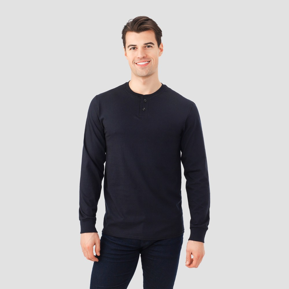Fruit Of The Loom Men's Long Sleeve Henley T-Shirt - Black XL