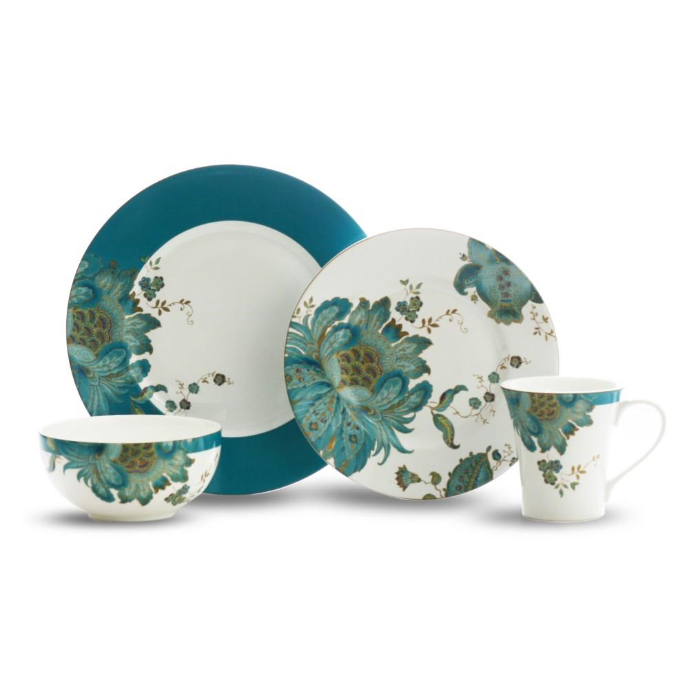 Image of 16pc Porcelain Eliza Dinnerware Set Blue/White - 222 Fifth, Multi-Colored