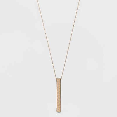 Hammered Bar Pendant Necklace - Universal Thread™ Antique Gold